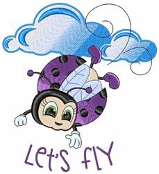 Lets Fly Ladybug embroidery design