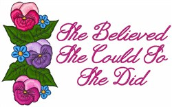 She Believed embroidery design