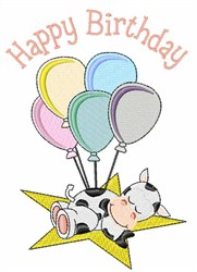 Birthday Cow embroidery design