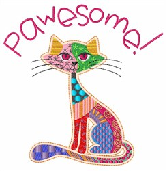 Pawesome Cat embroidery design