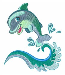 Dolphin Wave embroidery design