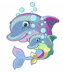 Dolphins Bubbles embroidery design