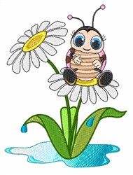Ladybug Daisy embroidery design