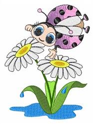 Ladybug Flowers embroidery design