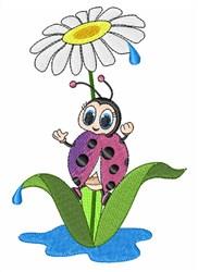 Ladybug Flower embroidery design