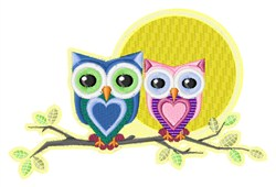 Owls and Moon embroidery design