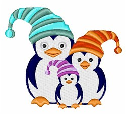 Penguins in Hats embroidery design