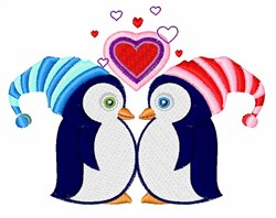 Heart Penguins embroidery design