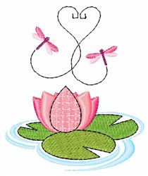 Dragonflies Lilypad embroidery design