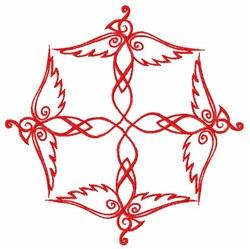 Red Swirl Bird embroidery design