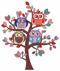 Owl Tree embroidery design