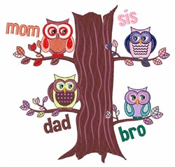 Family Owls embroidery design