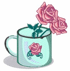 Rose Mug embroidery design