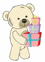 Presents Bear embroidery design