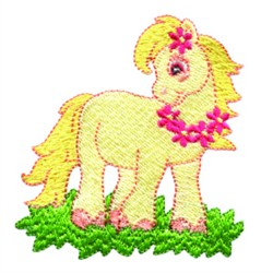 Pony With Flowers embroidery design