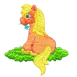 Sitting Pony embroidery design