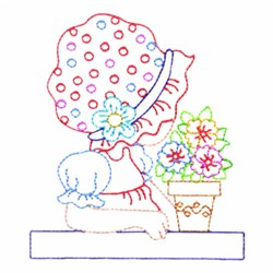 Girl And Flowers embroidery design
