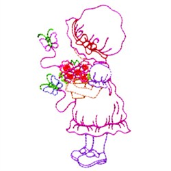 Girl And Butterflies embroidery design