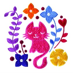 Cat And Flowers embroidery design