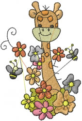 Giraffe In Flowers embroidery design
