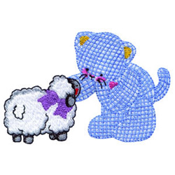 Kitty And Lamb embroidery design