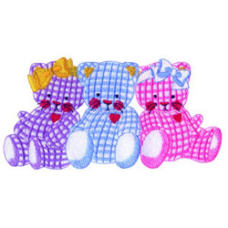Three Kitties embroidery design