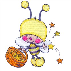 Cartoon Bee And Stars embroidery design