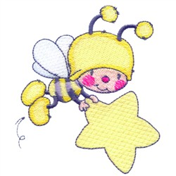 Bee With Star embroidery design