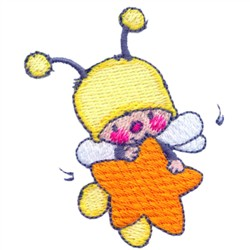 Bee & Star embroidery design