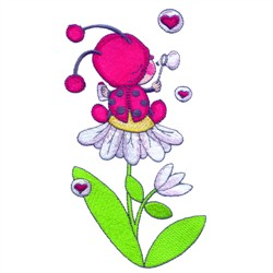 Ladybug On Flower embroidery design