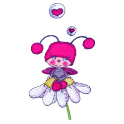 Ladybug In Love embroidery design