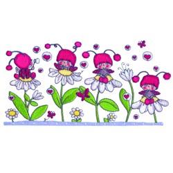 Flowers & Ladybugs embroidery design