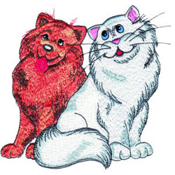 Cat And Dog Friends embroidery design