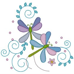 Dragonfly Flowers embroidery design