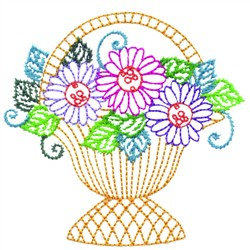 Flowers In Basket embroidery design