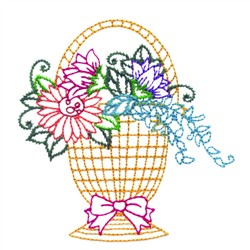 Flower Basket embroidery design