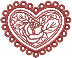 Rose In Heart embroidery design