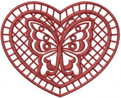 Heart & Butterfly embroidery design
