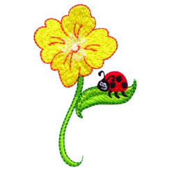 Ladybug And Flower embroidery design