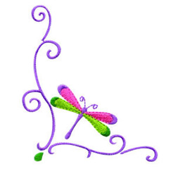 Dragonfly Corner embroidery design