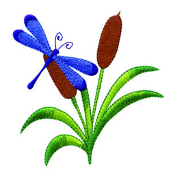 Dragonfly On Cattails embroidery design