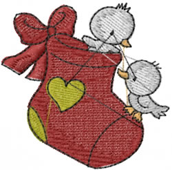 Stocking Birdies embroidery design