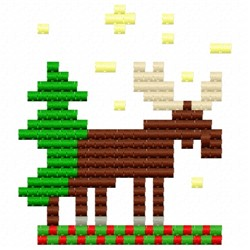 Moose Pixels embroidery design