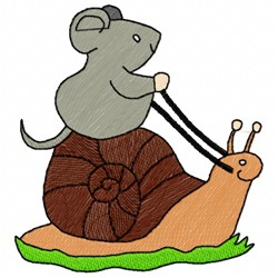 Mouse Riding Snail embroidery design