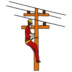 Electrical Lineman embroidery design