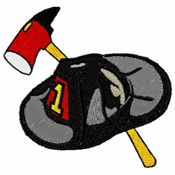 Fire Hat Ax embroidery design