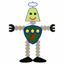 Robot Lighting embroidery design
