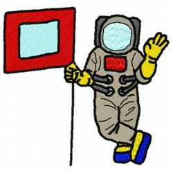 Astronaut Flag embroidery design
