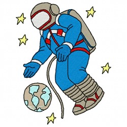 Space Man Earth embroidery design