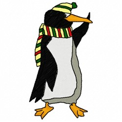 Penguin Scarf embroidery design
